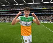 15 August 2021; Offaly full back Tom Hyland celebrates after the 2021 Eirgrid GAA Football All-Ireland U20 Championship Final match between Roscommon and Offaly at Croke Park in Dublin. Photo by Ray McManus/Sportsfile