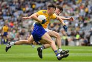 15 August 2021; Adam McDermott of Roscommon in action against Tom Hyland of Offaly during the 2021 Eirgrid GAA Football All-Ireland U20 Championship Final match between Roscommon and Offaly at Croke Park in Dublin. Photo by Ray McManus/Sportsfile