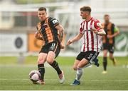 15 August 2021; Patrick McEleney of Dundalk and Ronan Boyce of Derry City during the SSE Airtricity League Premier Division match between Derry City and Dundalk at Ryan McBride Brandywell Stadium in Derry. Photo by Ben McShane/Sportsfile