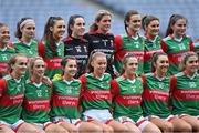 14 August 2021; Mayo players pose for their team photograph before the TG4 Ladies Football All-Ireland Championship semi-final match between Dublin and Mayo at Croke Park in Dublin. Photo by Piaras Ó Mídheach/Sportsfile