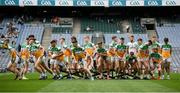 15 August 2021; Offaly players break from their team photographer before the 2021 Eirgrid GAA Football All-Ireland U20 Championship Final match between Roscommon and Offaly at Croke Park in Dublin. Photo by Stephen McCarthy/Sportsfile