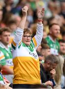 15 August 2021; An Offaly supporter celebrates during the 2021 Eirgrid GAA Football All-Ireland U20 Championship Final match between Roscommon and Offaly at Croke Park in Dublin. Photo by Stephen McCarthy/Sportsfile
