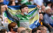 15 August 2021; A Roscommon supporter celebrates during the 2021 Eirgrid GAA Football All-Ireland U20 Championship Final match between Roscommon and Offaly at Croke Park in Dublin. Photo by Stephen McCarthy/Sportsfile