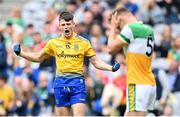 15 August 2021; Adam McDermott of Roscommon celebrates after scoring his side's goal during the 2021 Eirgrid GAA Football All-Ireland U20 Championship Final match between Roscommon and Offaly at Croke Park in Dublin. Photo by Stephen McCarthy/Sportsfile