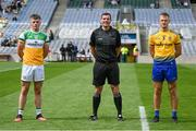 15 August 2021; Referee Sean Hurson with captains Cathal Donoghue of Offaly and Colin Walsh of Roscommon before the 2021 Eirgrid GAA Football All-Ireland U20 Championship Final match between Roscommon and Offaly at Croke Park in Dublin. Photo by Stephen McCarthy/Sportsfile