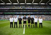 15 August 2021; Referee Sean Hurson and his officials before the 2021 Eirgrid GAA Football All-Ireland U20 Championship Final match between Roscommon and Offaly at Croke Park in Dublin. Photo by Stephen McCarthy/Sportsfile