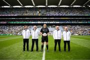 15 August 2021; Referee Sean Hurson and his umpires before the 2021 Eirgrid GAA Football All-Ireland U20 Championship Final match between Roscommon and Offaly at Croke Park in Dublin. Photo by Stephen McCarthy/Sportsfile