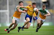 15 August 2021; Daire Cregg of Roscommon in action against Cathal Donoghue, left, and Aaron Brazil of Offaly during the 2021 Eirgrid GAA Football All-Ireland U20 Championship Final match between Roscommon and Offaly at Croke Park in Dublin. Photo by Stephen McCarthy/Sportsfile