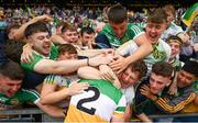 15 August 2021; Aaron Brazil celebrates with Offaly supporters following the 2021 Eirgrid GAA Football All-Ireland U20 Championship Final match between Roscommon and Offaly at Croke Park in Dublin. Photo by Stephen McCarthy/Sportsfile