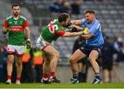 14 August 2021; Philip McMahon of Dublin tussles with Darren Coen of Mayo during the GAA Football All-Ireland Senior Championship semi-final match between Dublin and Mayo at Croke Park in Dublin. Photo by Piaras Ó Mídheach/Sportsfile