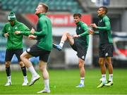 18 August 2021; Graham Burke, right, and Ronan Finn, second from right, during a Shamrock Rovers training session at A. Le Coq Arena in TallGraham Burke of Shamrock Rovers inn, Estonia. Photo by Eóin Noonan/Sportsfile