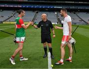 31 July 2021; Referee Richie Fitzsimons with the two captains, Keith Higgins of Mayo and Damian Casey of Tyrone, before the Nickey Rackard Cup Final match between Tyrone and Mayo at Croke Park in Dublin. Photo by Ray McManus/Sportsfile