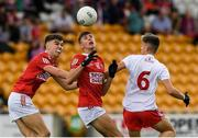 21 August 2021; Hugh O'Connor and Niall Kelly, left, of Cork in action against Shea O'Hare of Tyrone during the 2021 Electric Ireland GAA Football All-Ireland Minor Championship Semi-Final match between Cork and Tyrone at Bord Na Mona O'Connor Park in Tullamore, Offaly. Photo by Matt Browne/Sportsfile