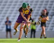 21 August 2021; Kate Kirwan of Wexford shoots under pressure from Michelle Teehan of Kilkenny during the All-Ireland Senior Camogie Championship quarter-final match between Kilkenny and Wexford at Páirc Uí Chaoimh in Cork. Photo by Piaras Ó Mídheach/Sportsfile