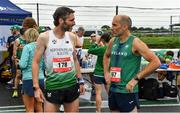 21 August 2021; Dave Andrews, left, representing Ulster and Northern ireland, and Padraig Mullins of St Finbars AC, Cork, representing Ireland, before the Irish National 50 kilometre and 100 kilometre Championships, incorporating the Anglo Celtic Plate, at Mondello Park in Naas, Kildare. Photo by Brendan Moran/Sportsfile