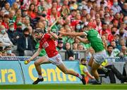 22 August 2021; Jack O'Connor of Cork in action against Barry Nash of Limerick during the GAA Hurling All-Ireland Senior Championship Final match between Cork and Limerick in Croke Park, Dublin. Photo by Eóin Noonan/Sportsfile