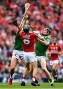 22 August 2021; Mark Coleman of Cork is tackled by Gearóid Hegarty, left and William O'Donoghue of Limerick during the GAA Hurling All-Ireland Senior Championship Final match between Cork and Limerick in Croke Park, Dublin. Photo by Piaras Ó Mídheach/Sportsfile