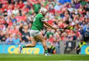 22 August 2021; Aaron Gillane of Limerick shoots to score his side's second goal during the GAA Hurling All-Ireland Senior Championship Final match between Cork and Limerick in Croke Park, Dublin. Photo by Harry Murphy/Sportsfile