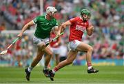 22 August 2021; Robbie O'Flynn of Cork is tackled by Kyle Hayes of Limerick during the GAA Hurling All-Ireland Senior Championship Final match between Cork and Limerick in Croke Park, Dublin. Photo by Ray McManus/Sportsfile