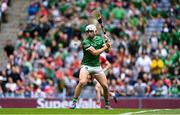 22 August 2021; Aaron Gillane of Limerick shoots to score his side's second goal during the GAA Hurling All-Ireland Senior Championship Final match between Cork and Limerick in Croke Park, Dublin. Photo by Piaras Ó Mídheach/Sportsfile