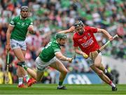 22 August 2021; Jack O'Connor of Cork gets away from William O'Donoghue of Limerick during the GAA Hurling All-Ireland Senior Championship Final match between Cork and Limerick in Croke Park, Dublin. Photo by Brendan Moran/Sportsfile