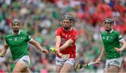 22 August 2021; Jack O'Connor of Cork in action against Seán Finn, left, and Declan Hannon of Limerick during the GAA Hurling All-Ireland Senior Championship Final match between Cork and Limerick in Croke Park, Dublin. Photo by Brendan Moran/Sportsfile