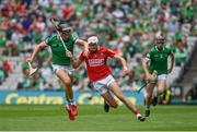 22 August 2021; Tim O'Mahony of Cork in action against Gearóid Hegarty of Limerick during the GAA Hurling All-Ireland Senior Championship Final match between Cork and Limerick in Croke Park, Dublin. Photo by Brendan Moran/Sportsfile