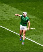 22 August 2021; Aaron Gillane of Limerick celebrates after scoring his side's second goal during the GAA Hurling All-Ireland Senior Championship Final match between Cork and Limerick in Croke Park, Dublin. Photo by Daire Brennan/Sportsfile