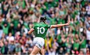 22 August 2021; Gearóid Hegarty of Limerick celebrates scoring his side's third goal during the GAA Hurling All-Ireland Senior Championship Final match between Cork and Limerick in Croke Park, Dublin. Photo by Piaras Ó Mídheach/Sportsfile
