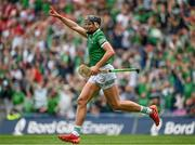 22 August 2021; Gearóid Hegarty of Limerick celebrates after scoring his side's third goal during the GAA Hurling All-Ireland Senior Championship Final match between Cork and Limerick in Croke Park, Dublin. Photo by Harry Murphy/Sportsfile