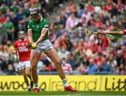 22 August 2021; Gearóid Hegarty of Limerick shoots to score his side's third goal during the GAA Hurling All-Ireland Senior Championship Final match between Cork and Limerick in Croke Park, Dublin. Photo by Harry Murphy/Sportsfile