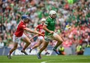 22 August 2021; Aaron Gillane of Limerick in action against Seán O'Donoghue of Cork during the GAA Hurling All-Ireland Senior Championship Final match between Cork and Limerick in Croke Park, Dublin. Photo by Harry Murphy/Sportsfile