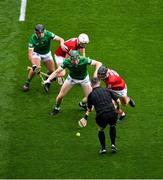 22 August 2021; Referee Fergal Horgan throws the ball in between Darragh O'Donovan, left, and William O'Donoghue of Limerick and Luke Meade, left, and Darragh Fitzgibbon of Cork to start the GAA Hurling All-Ireland Senior Championship Final match between Cork and Limerick in Croke Park, Dublin. Photo by Daire Brennan/Sportsfile