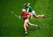22 August 2021; Tim O'Mahony of Cork in action against Gearóid Hegarty of Limerick during the GAA Hurling All-Ireland Senior Championship Final match between Cork and Limerick in Croke Park, Dublin. Photo by Daire Brennan/Sportsfile