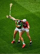 22 August 2021; Gearóid Hegarty of Limerick in action against Tim O'Mahony of Cork during the GAA Hurling All-Ireland Senior Championship Final match between Cork and Limerick in Croke Park, Dublin. Photo by Daire Brennan/Sportsfile