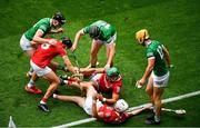 22 August 2021; Cork players, left to right, Darragh Fitzgibbon, Eoin Cadogan, and Tim O'Mahony in action against Limerick players, left to right, Gearóid Hegarty, Peter Casey, and Tom Morrissey during the GAA Hurling All-Ireland Senior Championship Final match between Cork and Limerick in Croke Park, Dublin. Photo by Daire Brennan/Sportsfile