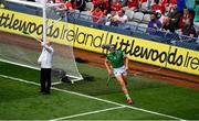 22 August 2021; Gearóid Hegarty of Limerick celebrates after scoring his side's first goal during the GAA Hurling All-Ireland Senior Championship Final match between Cork and Limerick in Croke Park, Dublin. Photo by Daire Brennan/Sportsfile