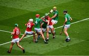 22 August 2021; Seán Finn of Limerick in action against Robbie O'Flynn of Cork during the GAA Hurling All-Ireland Senior Championship Final match between Cork and Limerick in Croke Park, Dublin. Photo by Daire Brennan/Sportsfile