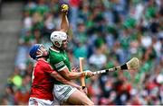 22 August 2021; Aaron Gillane of Limerick in action against Seán O'Donoghue of Cork during the GAA Hurling All-Ireland Senior Championship Final match between Cork and Limerick in Croke Park, Dublin. Photo by Piaras Ó Mídheach/Sportsfile