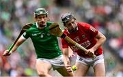 22 August 2021; William O'Donoghue of Limerick in action against Jack O'Connor of Cork during the GAA Hurling All-Ireland Senior Championship Final match between Cork and Limerick in Croke Park, Dublin. Photo by Piaras Ó Mídheach/Sportsfile