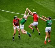 22 August 2021; Cian Lynch, left, and Gearóid Hegarty of Limerick in action against Mark Coleman, left, and Tim O'Mahony of Cork during the GAA Hurling All-Ireland Senior Championship Final match between Cork and Limerick in Croke Park, Dublin. Photo by Daire Brennan/Sportsfile