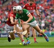 22 August 2021; Aaron Gillane of Limerick in action against Seán O'Leary Hayes of Cork during the GAA Hurling All-Ireland Senior Championship Final match between Cork and Limerick in Croke Park, Dublin. Photo by Ray McManus/Sportsfile