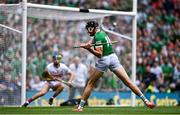 22 August 2021; Gearóid Hegarty of Limerick shoots to score his side's first goal during the GAA Hurling All-Ireland Senior Championship Final match between Cork and Limerick in Croke Park, Dublin. Photo by Piaras Ó Mídheach/Sportsfile