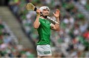 22 August 2021; Aaron Gillane of Limerick reacts during the GAA Hurling All-Ireland Senior Championship Final match between Cork and Limerick in Croke Park, Dublin. Photo by Eóin Noonan/Sportsfile