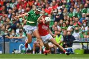 22 August 2021; Tim O'Mahony of Cork in action against Gearoid Hegarty of Limerick during the GAA Hurling All-Ireland Senior Championship Final match between Cork and Limerick in Croke Park, Dublin. Photo by Eóin Noonan/Sportsfile