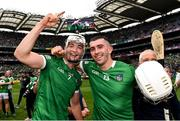 22 August 2021; Kyle Hayes, left, and Aaron Gillane of Limerick celebrate after the GAA Hurling All-Ireland Senior Championship Final match between Cork and Limerick in Croke Park, Dublin. Photo by Eóin Noonan/Sportsfile