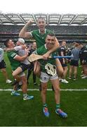 22 August 2021; Diarmaid Byrnes, top, and Aaron Gillane of Limerick celebrate after the GAA Hurling All-Ireland Senior Championship Final match between Cork and Limerick in Croke Park, Dublin. Photo by Ramsey Cardy/Sportsfile