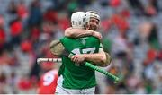 22 August 2021; Cian Lynch and Aaron Gillane of Limerick celebrate after the GAA Hurling All-Ireland Senior Championship Final match between Cork and Limerick in Croke Park, Dublin. Photo by Brendan Moran/Sportsfile
