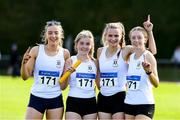 22 August 2021; Members of the Sligo County winning 4x400m Relay team, from left, Lauren Cadden, Caoimhe McDonagh, Erin Taheny and Amy Boland during day two of the Irish Life Health Youth Combined Events and Masters Combined Events at Tullamore Harriers Stadium in Tullamore, Offaly. Photo by Matt Browne/Sportsfile
