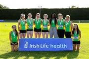 22 August 2021; Members of the Meath County team that came second in the Women's competition after day two of the Irish Life Health Youth Combined Events and Masters Combined Events at Tullamore Harriers Stadium in Tullamore, Offaly. Photo by Matt Browne/Sportsfile